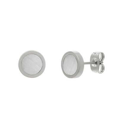 Imagen de Silver-Tone Stainless Steel Round Mother of Pearl Stud Earring
