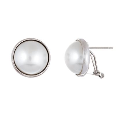 Imagen de Silver-Tone Stainless Steel Pearl Round Post Clip Earring
