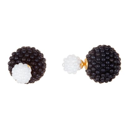 Imagen de Gold-Tone Stainless Steel Black & White Micro Pearl Ball Post Earring