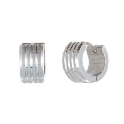 Imagen de Silver-Tone Stainless Steel 4 Row Ribbed Huggie Earring