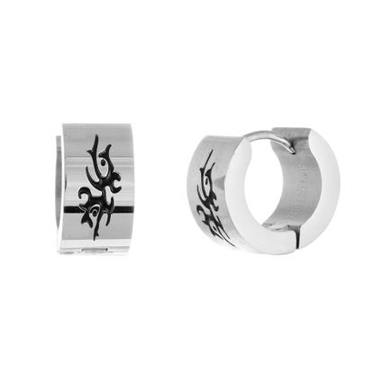 Imagen de Men's Two-Tone Stainless Steel Tribal Design Huggie Earrings