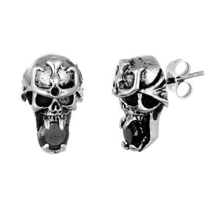 Imagen de Stainless Steel Oxidized Black Cubic Zirconia Skull Post Earrings