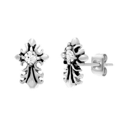 Imagen de Stainless Steel Oxidized Cubic Zirconia Cross Post Earrings