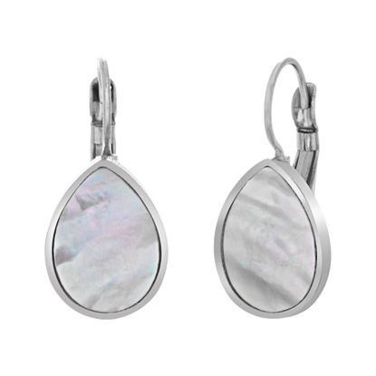 Imagen de Silver-Tone Stainless Steel Mother of Pearl Lever back Earring