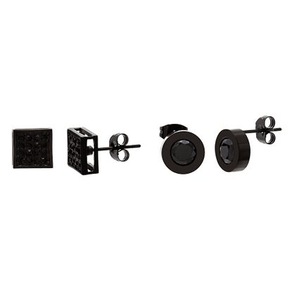 Imagen de Black-Tone Stainless Steel Cubic Zirconia Square and Stud Earrings Set