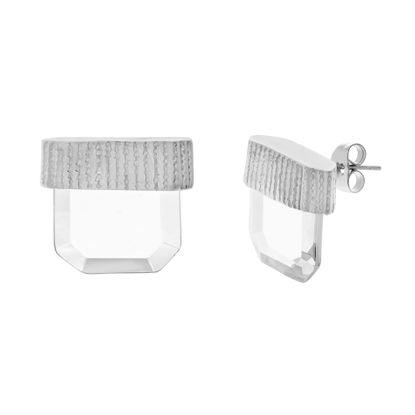Imagen de Silver-Tone Stainless Steel Black Diamond Geo Stone Earrings