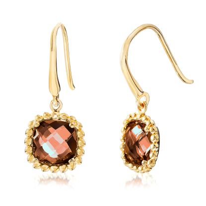 Picture of Gold-Tone Stainless Steel Square Smoky Glass Beaded Border Dangle Hook Earring