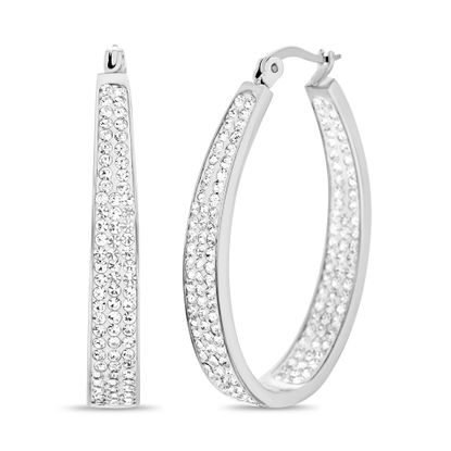 Imagen de Silver-Tone Stainless Steel Cubic Zirconia Pave Side Oval Hinge Hoop Earring