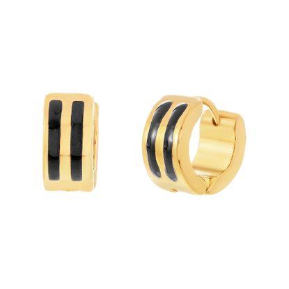 Imagen de Gold-Tone Stainless Steel Double Row Black Enamel Huggie Earring