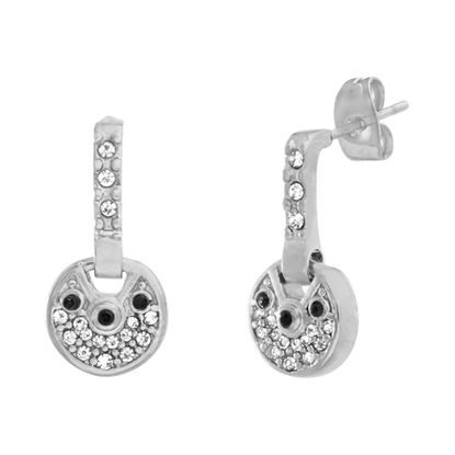 Picture of Silver-Tone Stainless Steel Cubic Zirconia Clear and Black Post Earring