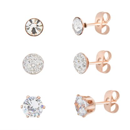 Imagen de Genuine Cubic Zirconia Trio Stud Post Earring Set in Rose IP Stainless Steel