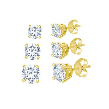 Imagen de Gold-Tone Stainless Steel 3pc Cubic Zirconia Stud Post Earring Set
