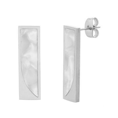 Imagen de Silver Tone Stainless Steel Freshwater Pearl Horizontal Bar Post Earrings