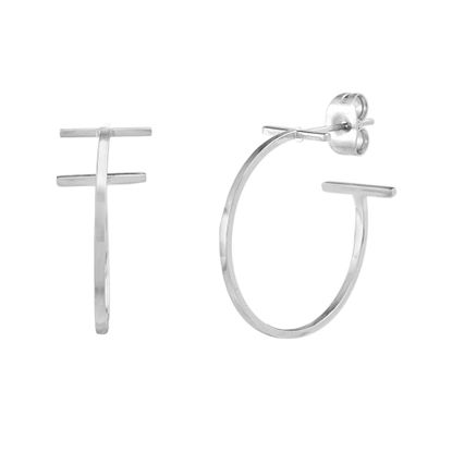Imagen de Silver-Tone Stainless Steel End Bar C-Hoop Earring