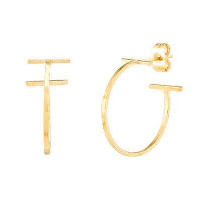 Imagen de Gold-Tone Stainless Steel End Bar C-Hoop Earring