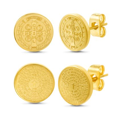 Imagen de Gold -Tone Stainless Steel Prayer Disc/San Benito Disc Duo Post Earring Set