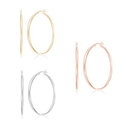 Imagen de Tri-Tone Stainless Steel 3pc 40mm Hoop Earring Set