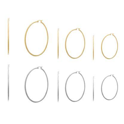 Imagen de Two-Tone Stainless Steel 6pc Hoop Earring Set