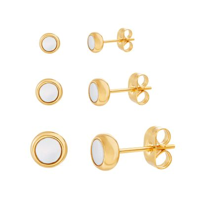 Imagen de Gold-Tone Stainless Steel Mother Of Pearl Circle Post Earring