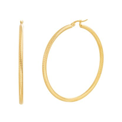 Imagen de 60mm Diamond Cut Textured Design Hoop Earring in Gold IP Stainless Steel
