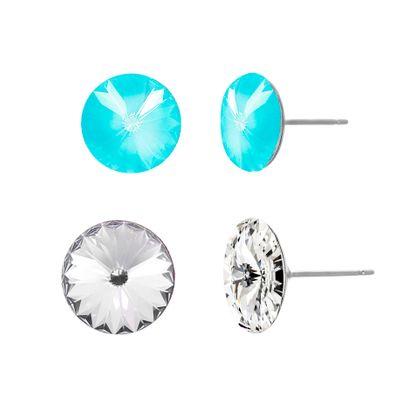 Imagen de Silver-Tone Stainless Steel Aquamarine & Clear Crystal Duo Stud Earring Set