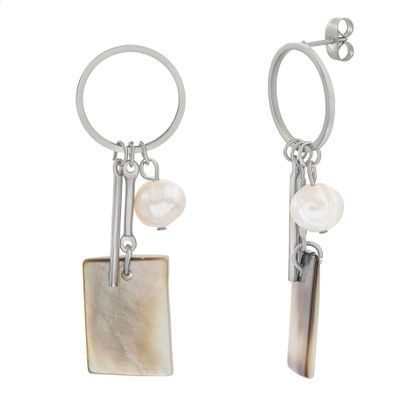 Imagen de Stainless Steel Freshwater Pearl & Abalone Open Circle Dangle Bar & Rectangle Post Earring