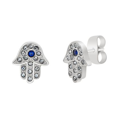 Imagen de Faceted Blue & Clear Crystal Hamsa Hand Post Earring in Stainless Steel