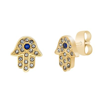 Picture of Faceted Blue & Clear Crystal Hamsa Hand Post Earring in Gold IP Stainless Steel