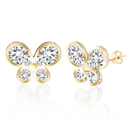 Imagen de Gold-Tone Alloy CZ Butterfly Design Post Earring