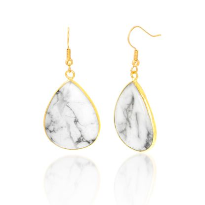Imagen de Alloy White And Grey Marble Tear Drop French Wire Earring