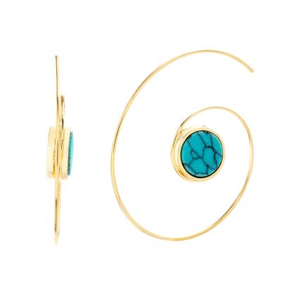 Imagen de Gold-Tone Alloy Center Turquoise Stone Swirl Threader Earring