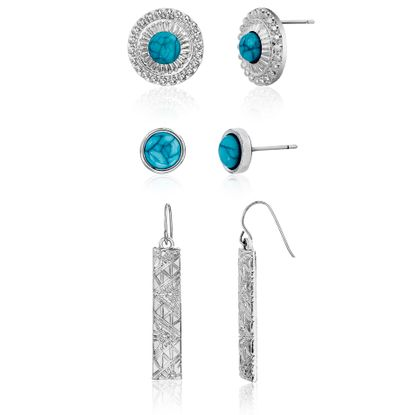 Imagen de Silver-Tone Alloy 3pc Turquoise Disc/Stud/Bar Post/Hook Earring Set