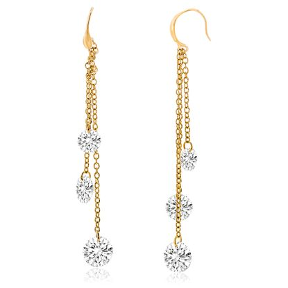 Imagen de Gold-Tone Alloy Dangling Cable Chain Crystal Ends Hook Earring