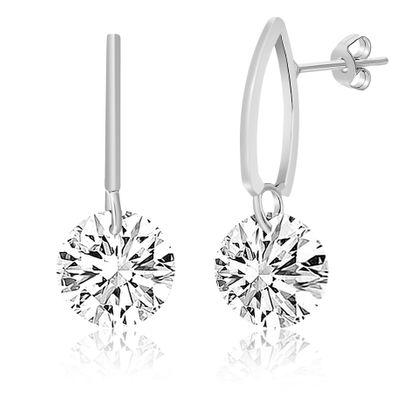 Imagen de Silver-Tone Alloy Polished Double Bar Dangling Crystal Post Earring