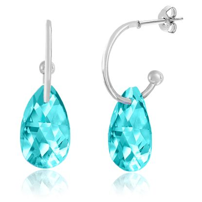 Imagen de Silver-Tone Alloy Dangling Teardrop Aqua Crystal Polished Hoop Post Earring