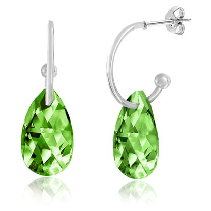 Imagen de Silver-Tone Alloy Dangling Teardrop Peridot Crystal Polished Hoop Post Earring