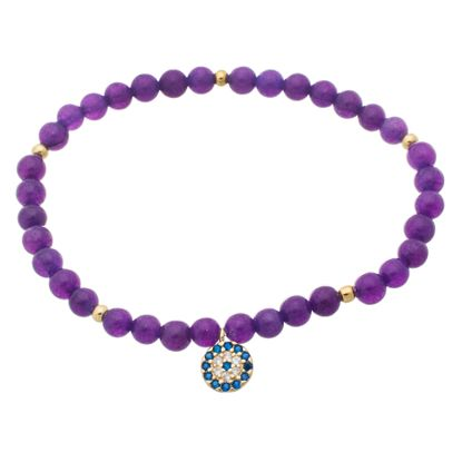 Imagen de Sterling Silver Clear and SPPR Cubic Zirconia Evil eye Charm on Purple Beaded Bangle