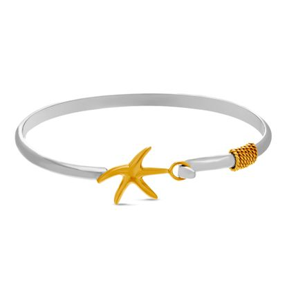 Imagen de Two-Tone Sterling Silver E-Coding Starfish Hook Closure Bangle