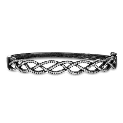 Imagen de Sterling Silver Black Onyx Cubic Zirconia Wavy Braid Hinge Bangle
