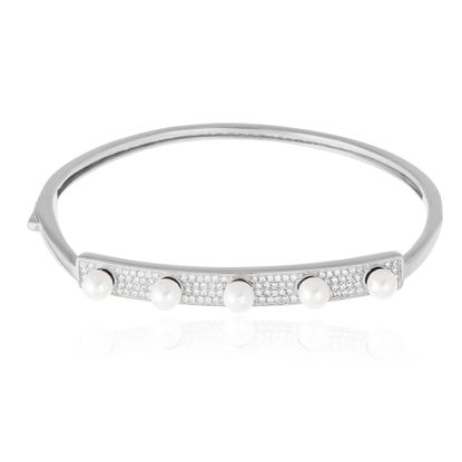 Picture of Sterling Silver Bar Station Pave and Pearl Slip On Bangle