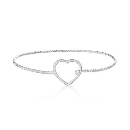 Picture of Sterling Silver Heart Shaped Bangle