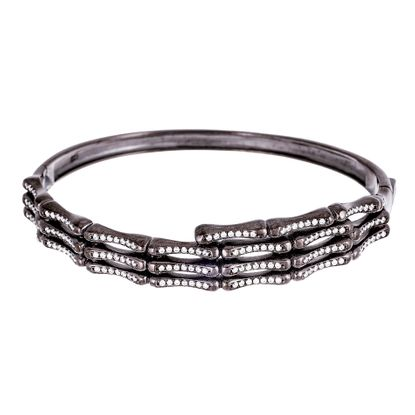 Picture of Black Onyx Sterling Silver Cubic Zirconia Ribbed Design Bangle