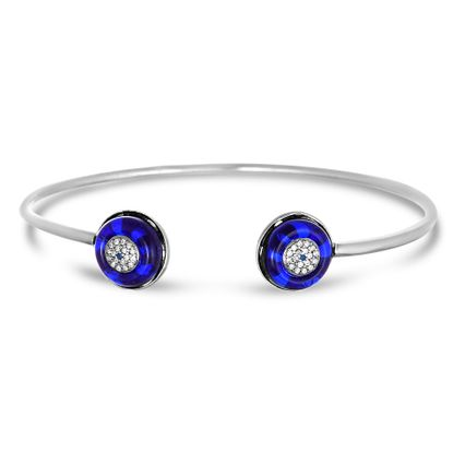 Imagen de Sterling Silver Cubic Zirconia Purple/Clear Evil Eye Ends Cuff Bangle