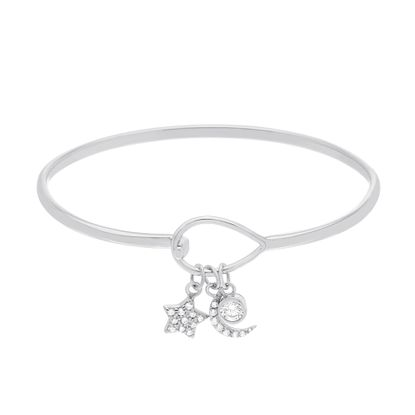Picture of Cubic Zirconia Dangling Star and Crescent Baby Bangle in Sterling Silver