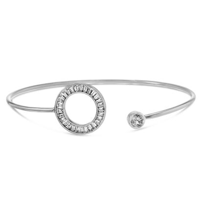 Picture of Baguette and Round Cut Cubic Zirconia Open Circle Cuff Bangle Bracelet in Rhodium over Sterling Silver