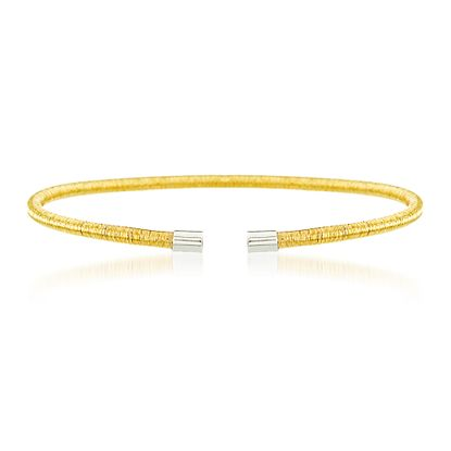 Imagen de Gold-Tone Sterling Silver Wrapped Wire Design Open Cuff Bangle