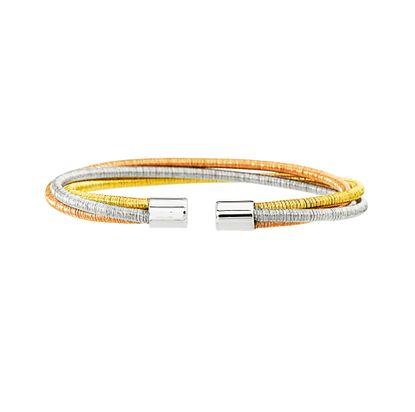 Imagen de Tri-Tone Stainless Steel Twist Wire Bangle