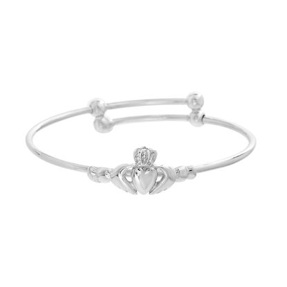 Imagen de Kids Claddagh Adjustable Slip-On Bangle in Sterling Silver