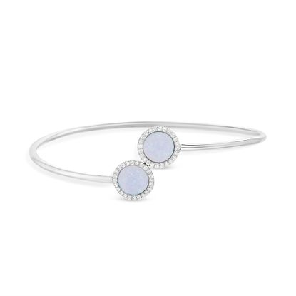 Imagen de Sterling Silver Cubic Zirconia Blue Opal Halo Bypass Bangle