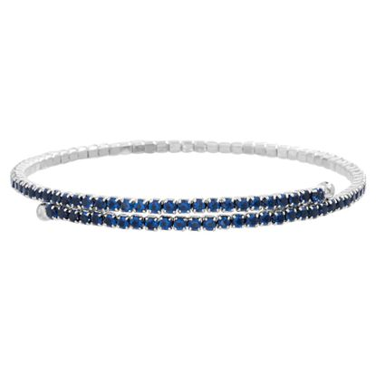 Imagen de Genuine Blue Cubic Zirconia Bangle bracelet  in Sterling Silver